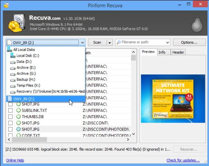 Recuva for PC